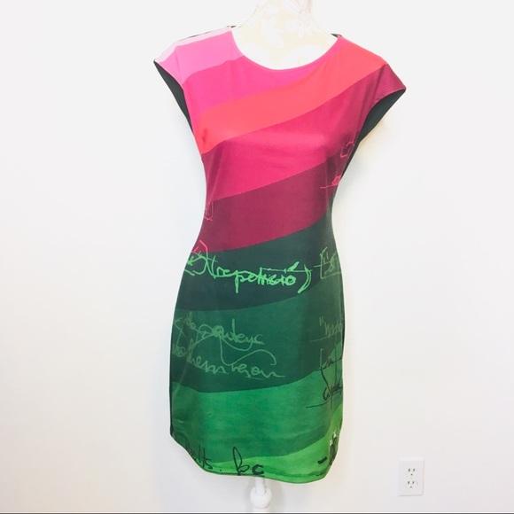 Desigual Dresses & Skirts - Desigual Sheath Dress Cap Sleeve Green Pink MED